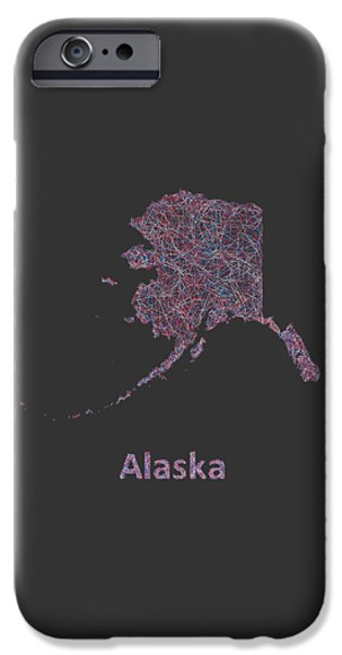Multicolor iPhone Cases -  Alaska line art map iPhone Case by David Zydd