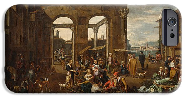 Remnant Paintings iPhone Cases -  An Italianate Market Scene iPhone Case by Celestial Images