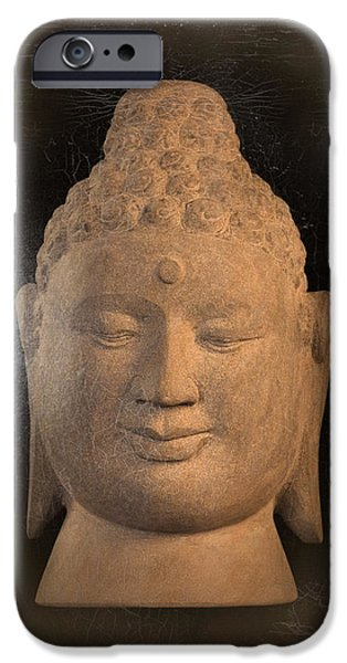Zen Sculptures iPhone Cases -  antique oil effect Buddha Borobudur iPhone Case by Terrell Kaucher