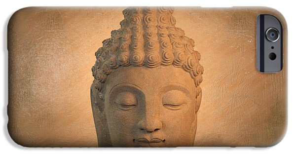 Tranquil Sculptures iPhone Cases -  antique oil effect Buddha Sukhothai , iPhone Case by Terrell Kaucher