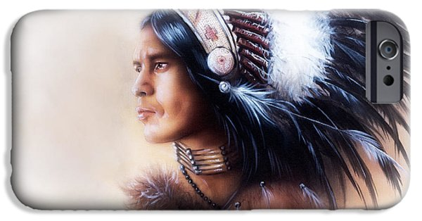 Native American Spirit Portrait iPhone Cases -  Beautiful Painting Of A Young Indian Warrior Wearing A Gorgeous Feather Headdress Profile Portrait iPhone Case by Jozef Klopacka