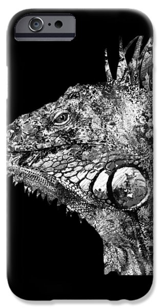 Iguana iPhone Cases -  Black And White Iguana Art - One Cool Dude 2 - Sharon Cummings iPhone Case by Sharon Cummings