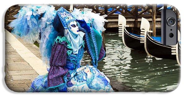 Angel Blues iPhone Cases -  Blue Angel 2015 Carnevale di Venezia Italia iPhone Case by Sally Rockefeller