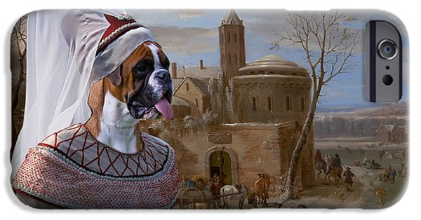 Boxer iPhone Cases -  Boxer Art Canvas Print - A winter landscape with figures  iPhone Case by Sandra Sij