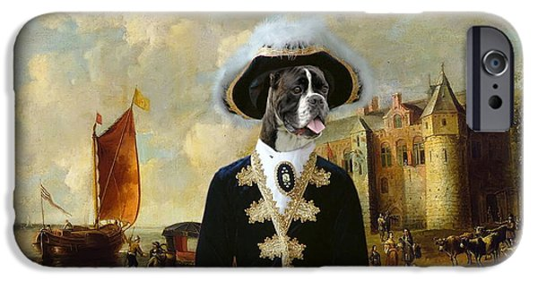 Boxer iPhone Cases -  Boxer Art Canvas Print - For King and Queen iPhone Case by Sandra Sij
