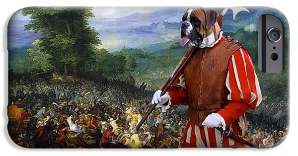 Boxer iPhone Cases -  Boxer Art Canvas Print - Gathering before the battle iPhone Case by Sandra Sij