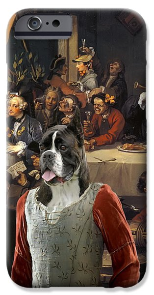 Boxer iPhone Cases -  Boxer Art Canvas Print - The Banquet iPhone Case by Sandra Sij