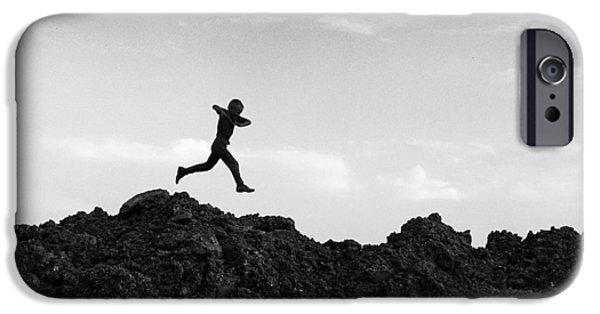 Mounds iPhone Cases -  Boy Running with Inspirational Text iPhone Case by Donald  Erickson