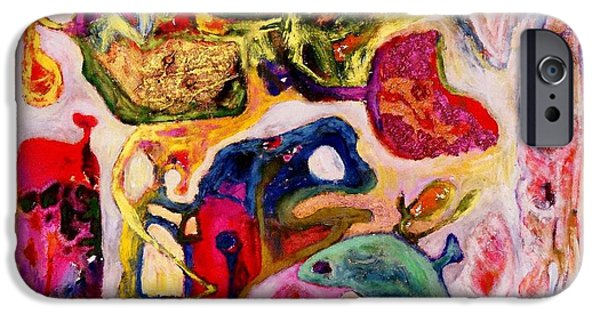 Mounds Mixed Media iPhone Cases -  Bug with Flower Mound iPhone Case by Lu-d Huang