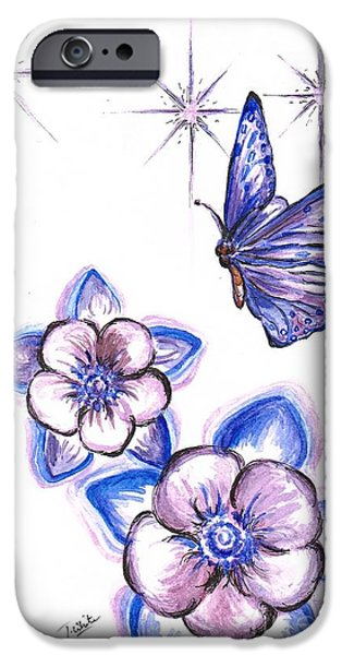 Lilacs Drawings iPhone Cases -  Butterfly Amongst The Flowers iPhone Case by Teresa White
