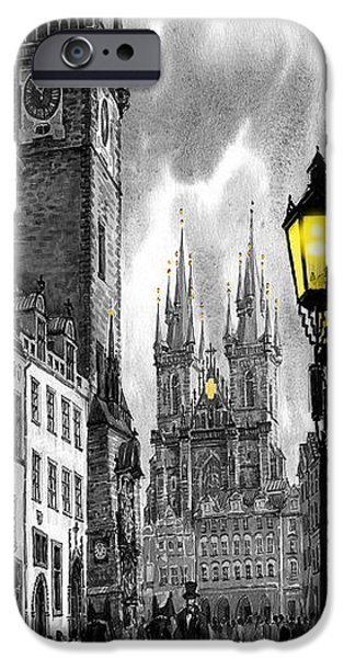 Old Town Digital iPhone Cases -  BW Prague Old Town Squere iPhone Case by Yuriy  Shevchuk