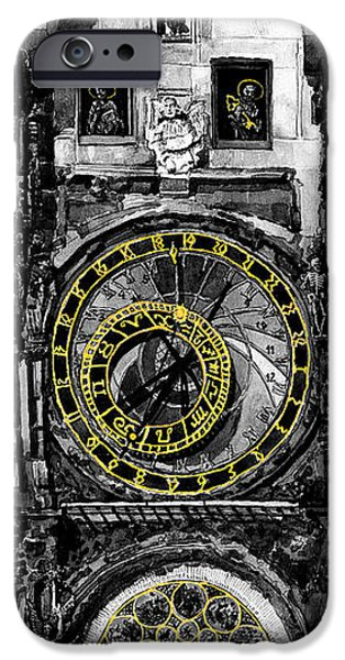 Old Towns iPhone Cases -  BW Prague The Horologue at OldTownHall iPhone Case by Yuriy  Shevchuk