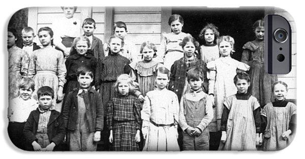 Building iPhone Cases -  Children Kids Teacher Posing In Front School iPhone Case by Mark Goebel