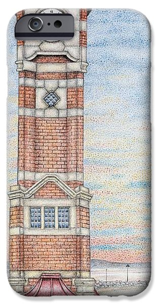 Architecture Drawings iPhone Cases -  Clock Tower  Morecambe  Lancashire iPhone Case by Sandra Moore