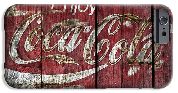 Coca-cola Signs iPhone Cases -  Coca Cola Sign Barn Wood iPhone Case by John Stephens