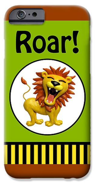 Animation iPhone Cases -  Cute Lion Roaring iPhone Case by Amy Vangsgard