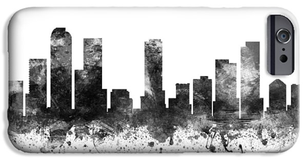 Colorado Drawings iPhone Cases -  Denver Colorado Cityscape 02BW iPhone Case by Aged Pixel