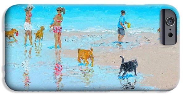 Ocean Art. Beach Decor iPhone Cases -  Dog Beach Day iPhone Case by Jan Matson