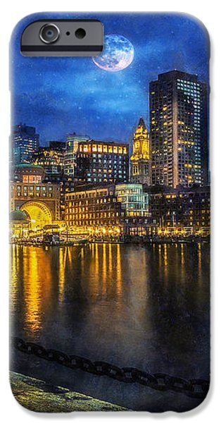 City Scape Digital iPhone Cases -  Downtown At Night iPhone Case by Ian Mitchell
