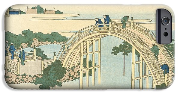River View Drawings iPhone Cases -  Drum Bridge of Kameido Tenjin Shrine from the Series Wondrous Views of Famous Bridges in All the Pr iPhone Case by Katsushika Hokusai