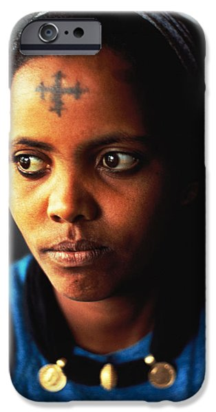 Ethiopian Woman iPhone Cases -  Ethiopian Woman with Coptic Cross iPhone Case by Carl Purcell