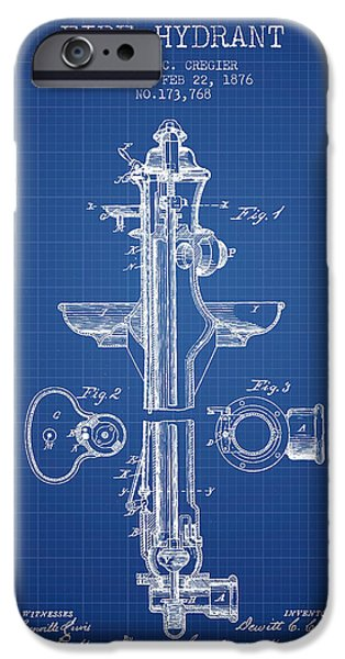 Fire Hydrant iPhone Cases -  Fire Hydrant Patent from 1876 - Blueprint iPhone Case by Aged Pixel