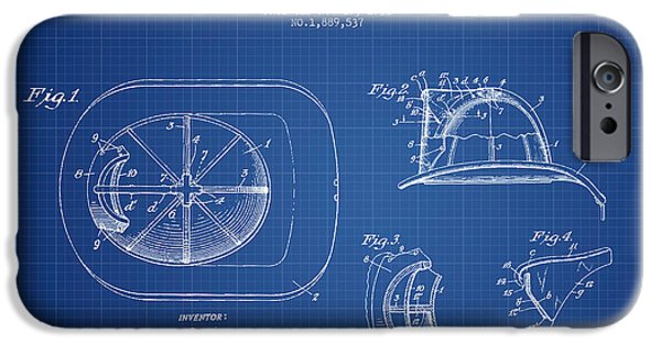 Gear iPhone Cases -  Firefighter Helmet Patent drawing from 1932 - Blueprint iPhone Case by Aged Pixel