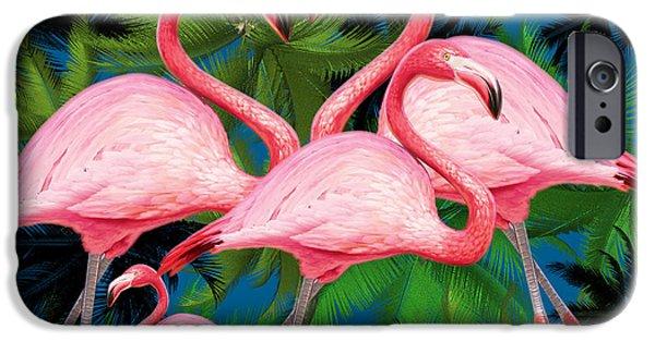 Surrealism Digital iPhone Cases -  Flamingo iPhone Case by Mark Ashkenazi