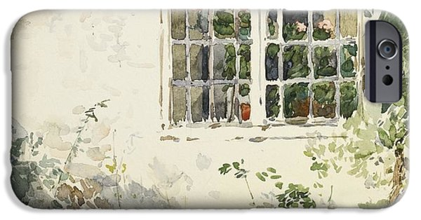 Childe iPhone Cases -  Flowers Against A White Wall iPhone Case by Childe Hassam