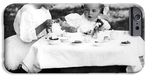 Tea Party iPhone Cases -  Girls Having Tea Party 1910s Black White Archive iPhone Case by Mark Goebel