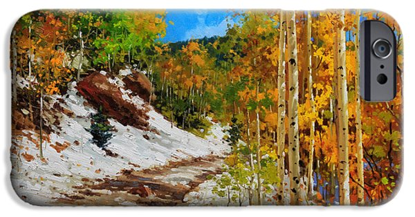 Santa iPhone Cases -  Golden aspen trees in snow iPhone Case by Gary Kim