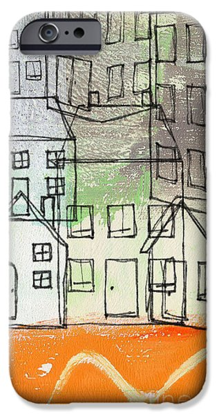 River Mixed Media iPhone Cases -  Houses By The River iPhone Case by Linda Woods