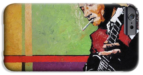 Jazz Paintings iPhone Cases -  Jazz Guitarist iPhone Case by Yuriy  Shevchuk