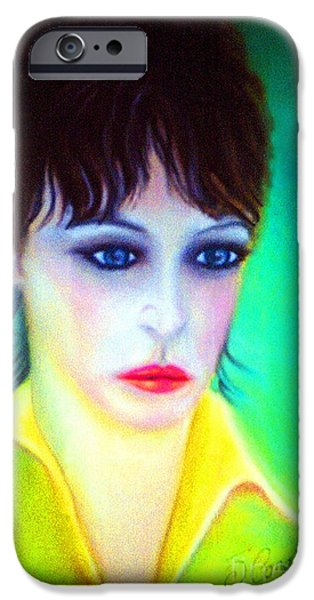 Celebrities Art Pastels iPhone Cases -  Lady Gaze iPhone Case by Liam O Conaire
