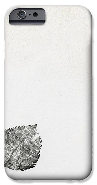 Flora Drawings iPhone Cases -  Leaf iPhone Case by Bella Larsson