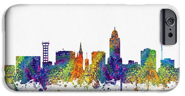 Lincoln iPhone Cases -  Lincoln Nebraska Skyline color03 iPhone Case by Aged Pixel