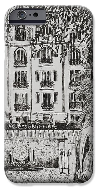 Facade Drawings iPhone Cases -  Majestic  Cannes iPhone Case by Vincent Alexander Booth