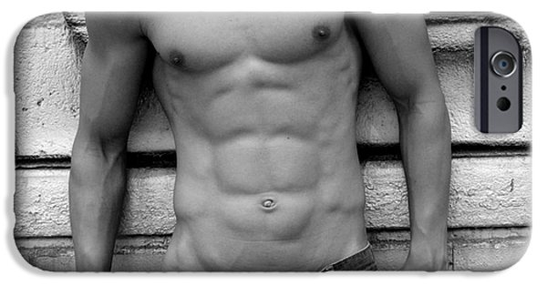 Model iPhone Cases -  Male Abs iPhone Case by Mark Ashkenazi