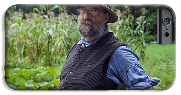 Gray Hair iPhone Cases -  Male farmer Old Sturbridge Villlage iPhone Case by Jason O Watson