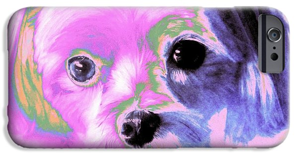 Puppy Digital Art iPhone Cases -  Maltese In Pink iPhone Case by Annie Zeno