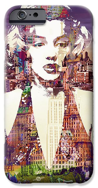Recently Sold -  - Lips iPhone Cases -  Marilyn Monroe Vulnerable In New York City 2 iPhone Case by Tony Rubino