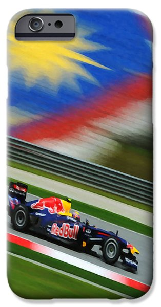 Circuit Paintings iPhone Cases -  Mark Webber of Red Bull F1 team racing iPhone Case by Lanjee Chee