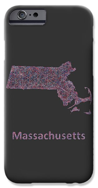 Boston Ma Drawings iPhone Cases -  Massachusetts map iPhone Case by David Zydd