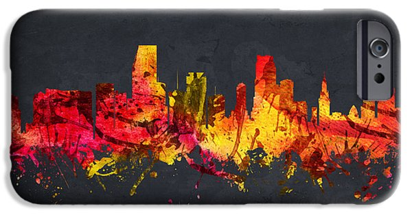 Miami Drawings iPhone Cases -  Miami Cityscape 07 iPhone Case by Aged Pixel