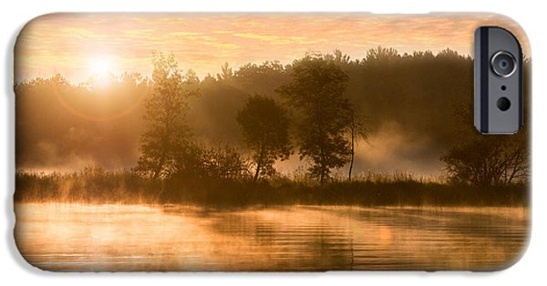 Fog Mist iPhone Cases -  Misty River Sunrise at Boy Lake iPhone Case by Patti Deters