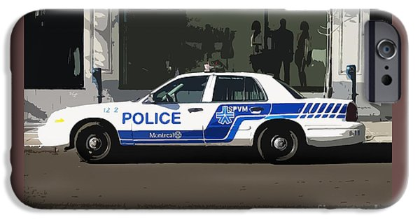 Police Car iPhone Cases -  Montreal Police Car Poster Art iPhone Case by Reb Frost