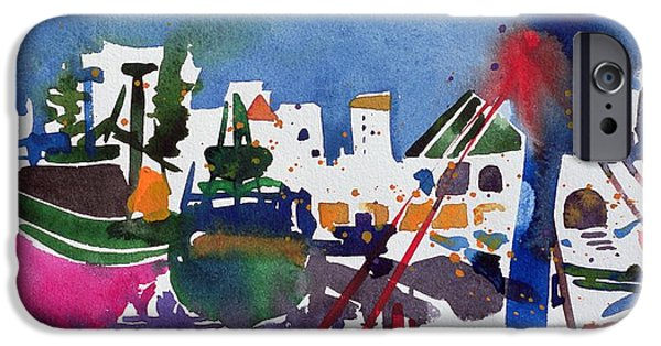 Blue And Red Paintings iPhone Cases -  Moroccan Port  iPhone Case by Simon Fletcher