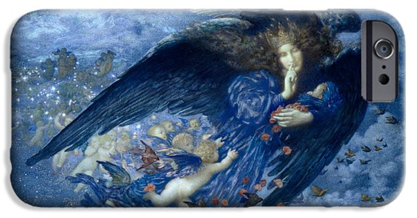 Night Angel iPhone Cases -  Night With Her Train Of Stars  iPhone Case by Edward Robert Hughes