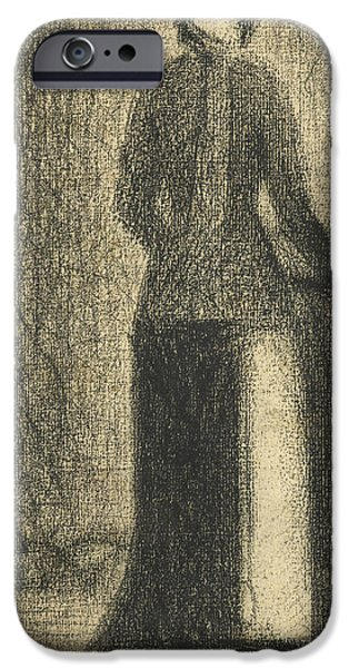 Crayons Drawings iPhone Cases -  Nurse with a Childs Carriage  iPhone Case by Georges-Pierre Seurat