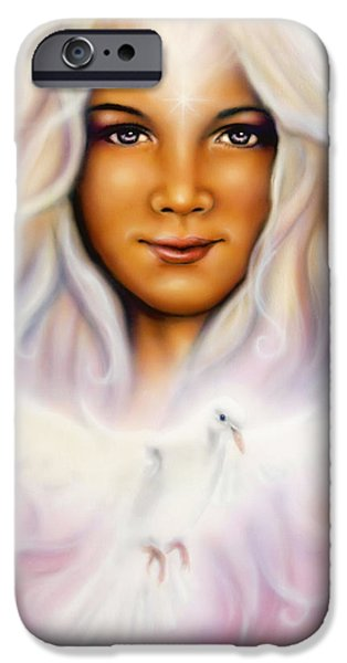 Angel Blues iPhone Cases -  Painting Of A Young Girls Angelic Face With Radiant White Hair And A Shining Dove iPhone Case by Jozef Klopacka